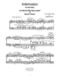 Manon Lescaut : Intermezzo, for piano, CSPG3 by Giacomo Puccini