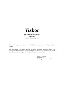 Yizkor for piano, Op.935: Yizkor for piano by Carson Cooman