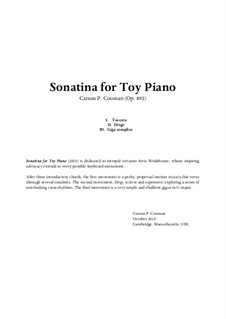 Sonatina for Toy Piano, Op.892: Sonatina for Toy Piano by Carson Cooman