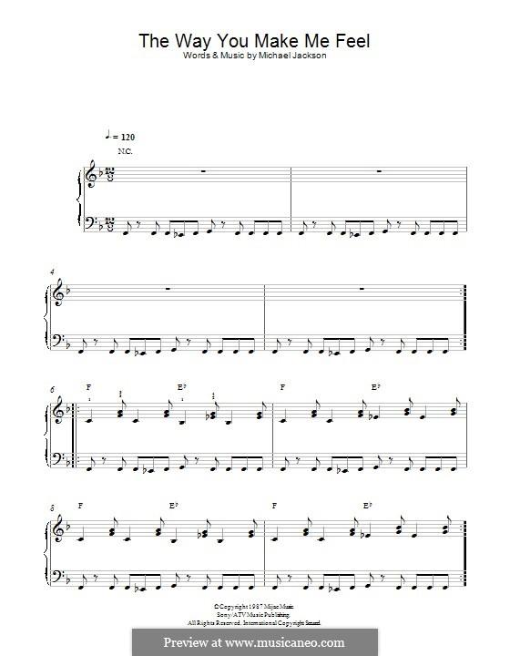 The Way You Make Me Feel: Para Piano by Michael Jackson
