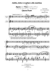 Addio, dolce svegliare alla mattina: For soprano, tenor and piano, CSPG5 by Giacomo Puccini