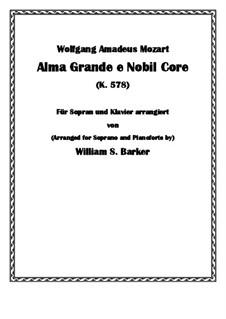 Alma Grande e Nobil Core, K.578: Para vocais e piano by Wolfgang Amadeus Mozart
