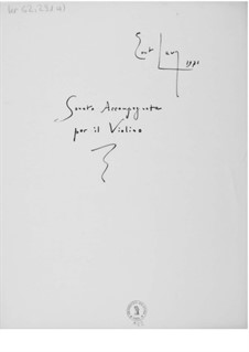 Sonata accompagnata for Violin and Piano: Score by Ernst Levy