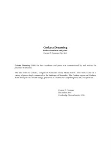 Coskata Dreaming (2008) for bass trombone and piano, Op.802: Coskata Dreaming (2008) for bass trombone and piano by Carson Cooman