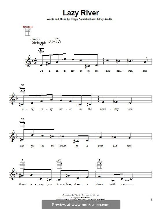 Lazy River (Bobby Darin): para ukulele by Hoagy Carmichael, Sidney Arodin