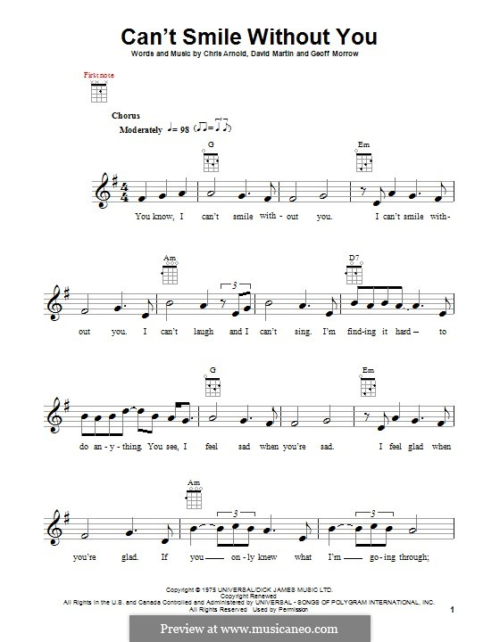Can't Smile without You (Barry Manilow): para ukulele by Chris Arnold, David Martin, Geoff Morrow