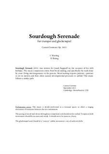 Sourdough Serenade (2013) for trumpet and glockenspiel, Op.1031: Sourdough Serenade (2013) for trumpet and glockenspiel by Carson Cooman