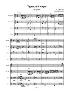 Rondo alla turca: For stirng quartet – score, Ор.47 No.14 by Wolfgang Amadeus Mozart