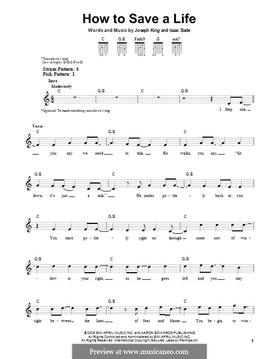 How to Save a Life (The Fray): Para Guitarra by Isaac Slade, Joseph King