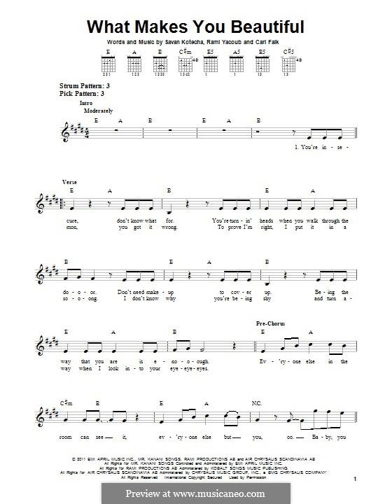 What Makes You Beautiful (One Direction): Para guitarra com guia by Carl Falk, Savan Kotecha