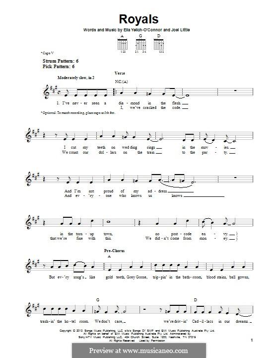 Royals (Lorde): Para Guitarra by Ella Yelich-O'Connor, Joel Little