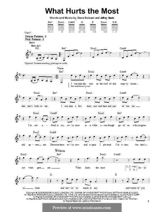 What Hurts the Most (Rascal Flatts): Para Guitarra by Jeffrey Steele, Steve Robson