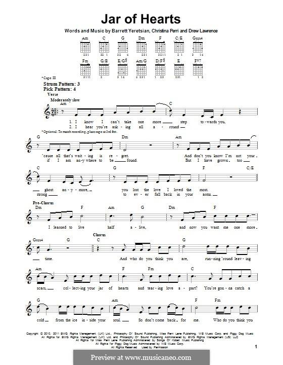 Jar of Hearts: Para Guitarra by Barrett Yeretsian, Christina Perri, Drew Lawrence