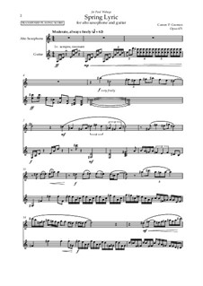 Spring Lyric for alto saxophone and guitar, Op.671: Spring Lyric for alto saxophone and guitar by Carson Cooman