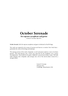 October Serenade (2010) for soprano saxophone and guitar, Op.867: October Serenade (2010) for soprano saxophone and guitar by Carson Cooman