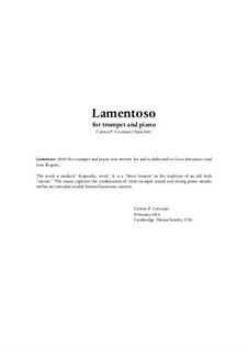 Lamentoso (2010) for trumpet and piano, Op.863: Lamentoso (2010) for trumpet and piano by Carson Cooman