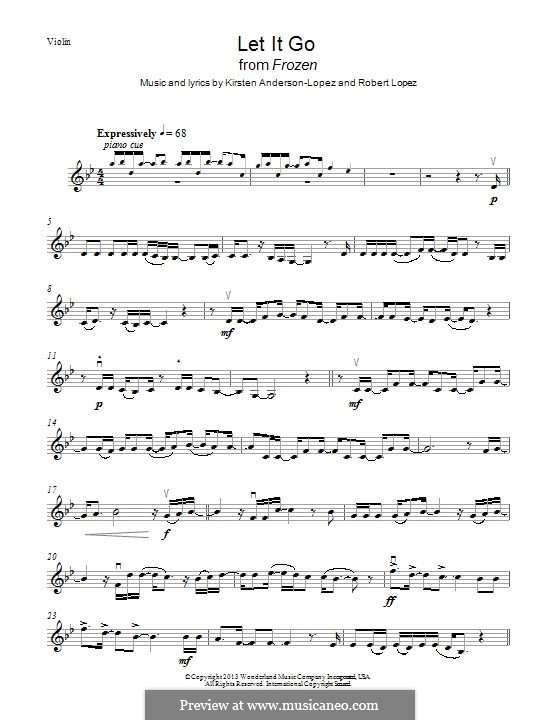 Let It Go (from Frozen): For violin (g moll) by Robert Lopez, Kristen Anderson-Lopez