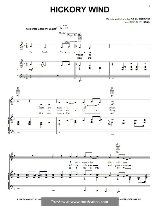 Hickory Wind: Para vocais e piano (ou Guitarra) by Bob Buchanan, Gram Parsons