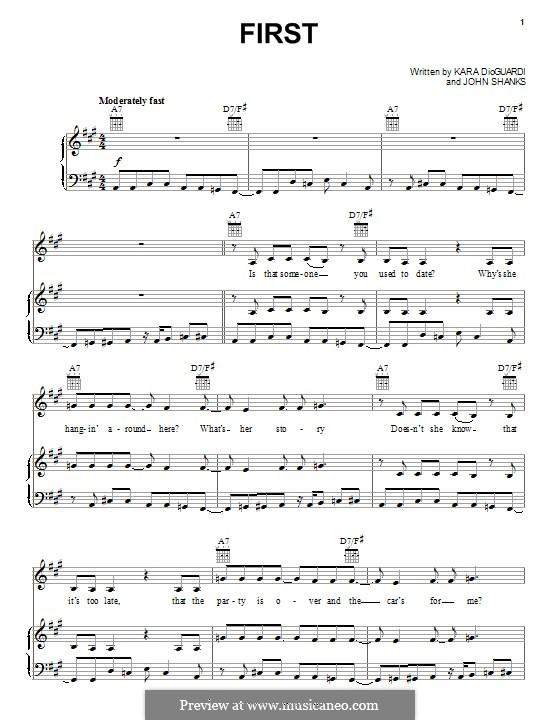 First (Lindsay Lohan): Para vocais e piano (ou Guitarra) by John M Shanks, Kara DioGuardi