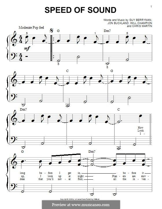 Speed of Sound (Coldplay): Facil para o piano by Chris Martin, Guy Berryman, Jonny Buckland, Will Champion