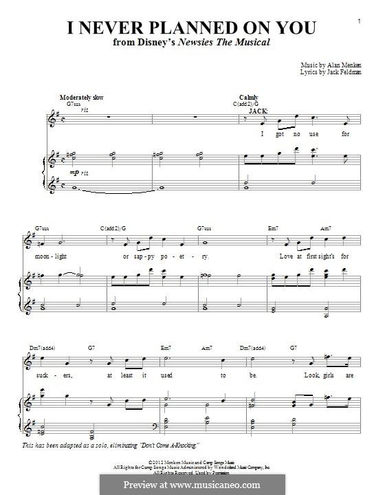 I Never Planned on You/Don't Come A-Knocking: Para vocais e piano by Alan Menken