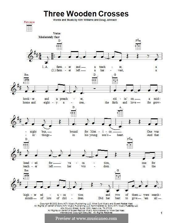 Three Wooden Crosses: para ukulele by Doug Johnson, Kim Williams