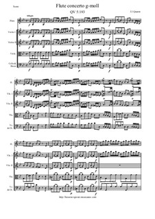 Concerto for Flute and Orchestra No.132, QV 5:193: Score and all parts by Johann Joachim Quantz
