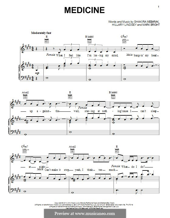 Medicine (Shakira): Para vocais e piano (ou Guitarra) by Shakira, Hillary Lindsey, Mark Bright