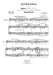Madama Butterfly : Un bel dì, for soprano and piano, CSPG13 by Giacomo Puccini