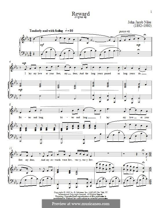 Reward: Para vocais e piano by John Jacob Niles