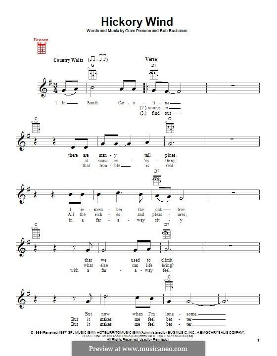 Hickory Wind: para ukulele by Bob Buchanan, Gram Parsons