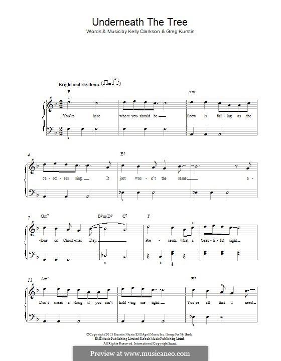 Underneath the Tree: Para Piano by Greg Kurstin, Kelly Clarkson