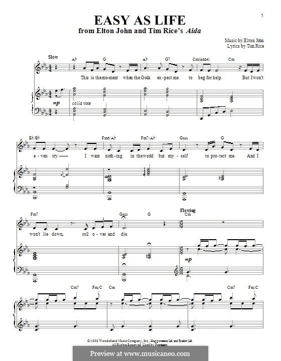 Easy as Life: Para vocais e piano by Elton John