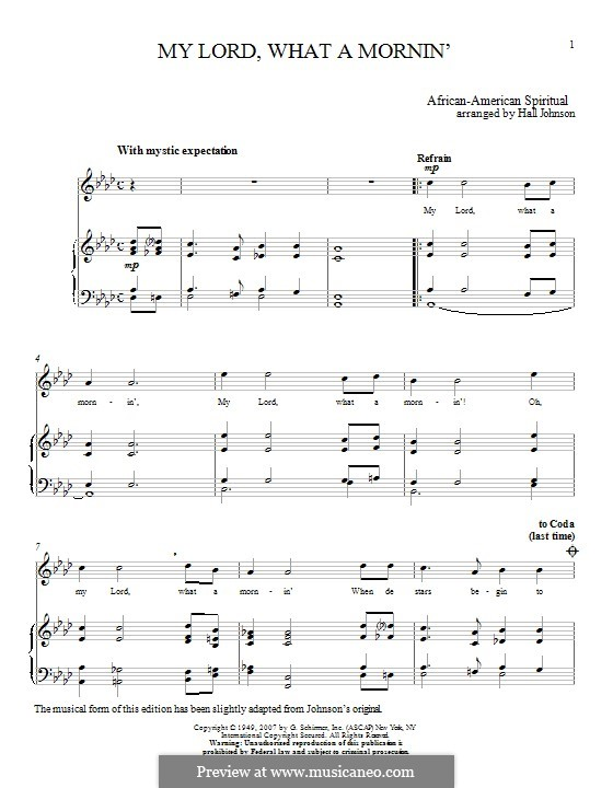 My Lord What a Morning: Para vocais e piano by folklore