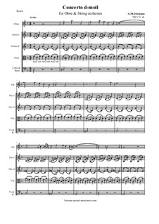Concerto for Oboe, Strings and Basso Continuo in D Minor, TWV 51:d1: Score and all parts by Georg Philipp Telemann