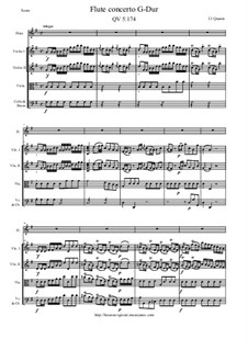 Concerto for Flute and Orchestra No.161, QV 5:174: Score and all parts by Johann Joachim Quantz