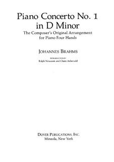 Concerto for Piano and Orchestra No.1 in D Minor, Op.15: versão para piano de quatro mãos by Johannes Brahms