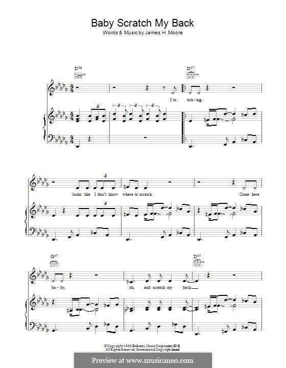 Baby Scratch My Back: Para vocais e piano (ou Guitarra) by James Moore