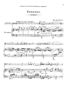 Canzone, Op.55: For cello (violin or viola) and piano by Max Bruch