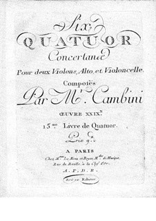 Six String Quartets, Op.29: parte viola by Giuseppe Maria Cambini