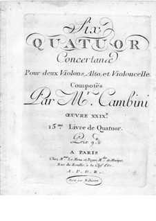 Six String Quartets, Op.29: parte violoncelo by Giuseppe Maria Cambini