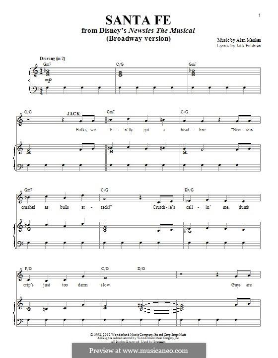 Santa Fe (from Newsies): Para vocais e piano by Alan Menken