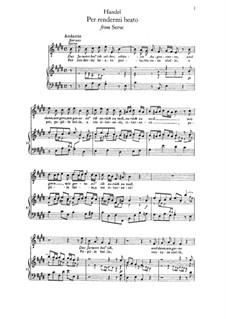 Per rendermi beato...: Para vocais e piano by Georg Friedrich Händel