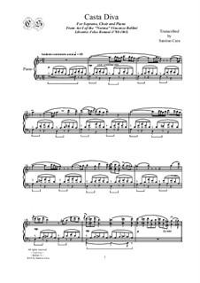 Casta diva, che inargenti: For soprano solo, chorus (SSTTB) and piano by Vincenzo Bellini