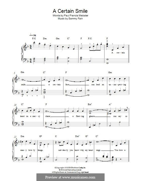 A Certain Smile (Johnny Mathis): Para Piano by Sammy Fain