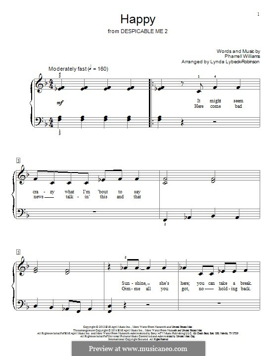 Happy: Para piano (Big Notes) by Pharrell Williams