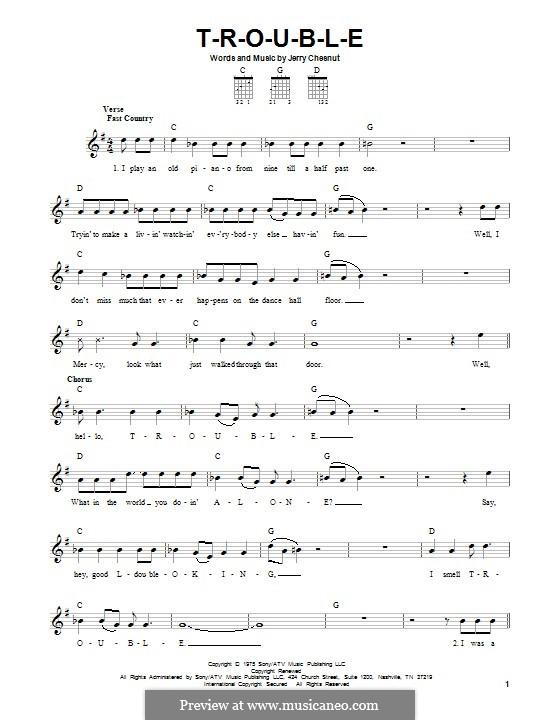 T-R-O-U-B-L-E (Elvis Presley): Para guitarra com guia by Jerry Chesnut