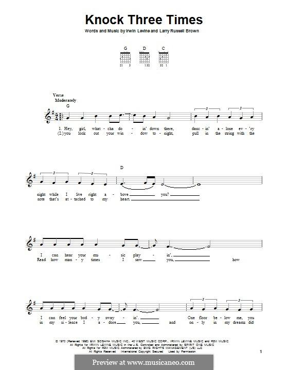 Knock Three Times (Dawn): Para guitarra com guia by Irwin Levine, L. Russell Brown