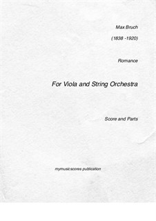 Romance for Viola and Orchestra, Op.85: partituras completas, partes by Max Bruch