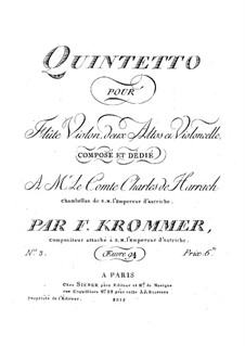 Quintet for Flute and Strings in D Minor, Op.94 No.3: Partes by Franz Krommer
